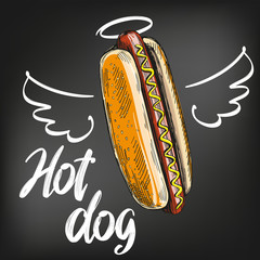 hot dog with wings and halo painted on a black chalkboard chalk, fast food, hand drawn vector illustration sketch. chalk menu. retro style