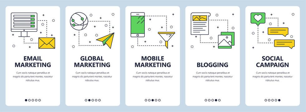 Vector modern thin line email marketing vertical web banner set
