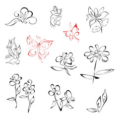 flowers 1-1. SET. stylized flowers and two butterflies in lines on a white background. SET