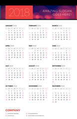 Calendar poster for 2018 year. Portrait oriantation. Vector design print template with abstract background or place for photo. Week starts on Sunday