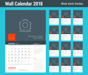 Wall calendar planner template for 2018 year. Set of 12 months. Vector design print template with place for photo. Week starts on Sunday