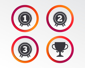 First, second and third place icons. Award medals sign symbols. Prize cup for winner. Infographic design buttons. Circle templates. Vector