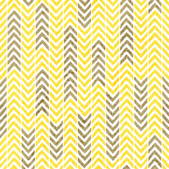 Seamless vintage chevron pattern. Grunge texture. Gray, yellow and white colors. Print with ornament in the form of a zigzag. Striped old wallpaper.