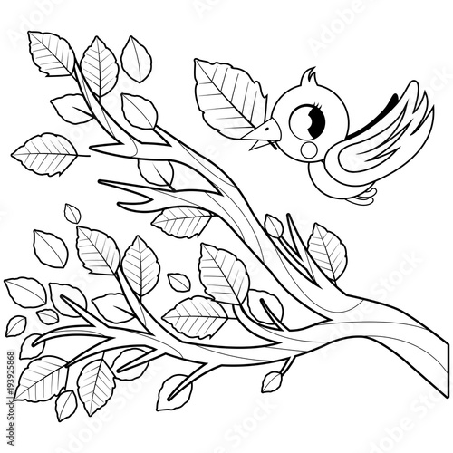 Bird And Tree Branch With Leaves Black White Coloring Book Page