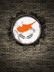 Old Cyprus flag in brick wall