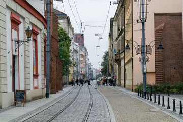 Down the streets of the Old Town in Wroclaw, Poland