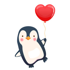 penguin holding balloon