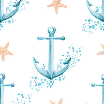 Nautical seamless pattern with watercolor anchor and starfish