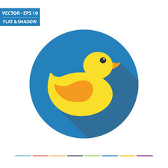 Rubber duck flat icon with long shadow. Vector Illustration.
