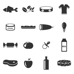 Vector image of set of icons of departments in a supermarket. Flat. Sixteen icons