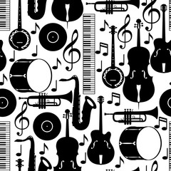 Jazz music seamless pattern with musical instruments
