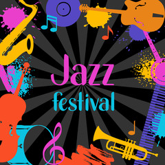 Jazz festival grunge background with musical instruments