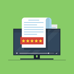 Concept of a recall or rating. Document with stars on the background of a TV or computer monitor. Flat vector illustrarion isolated on green background.