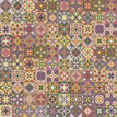 Vintage Bright seamless Intricate Tile Pattern for textiles or for interior design. Ceramic paint floor, ornament Collection Patchwork background