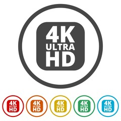 Ultra HD 4K icon set, 6 Colors Included