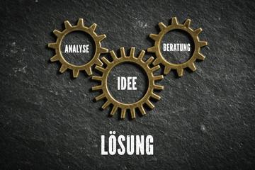 Lösung als Maschinierie aus Analyse, Beratung und Idee