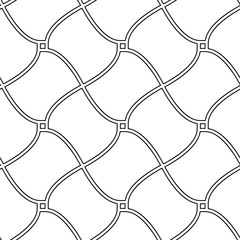 Black and white wavy lines checker abstract geometric seamless pattern, vector