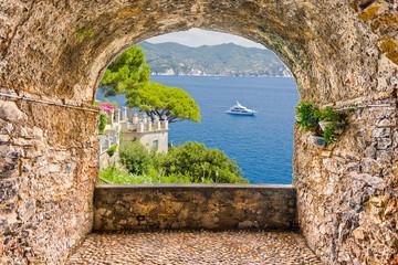 Rock balcony with seascape view of Portofino, Ligurian Coastline, Italy