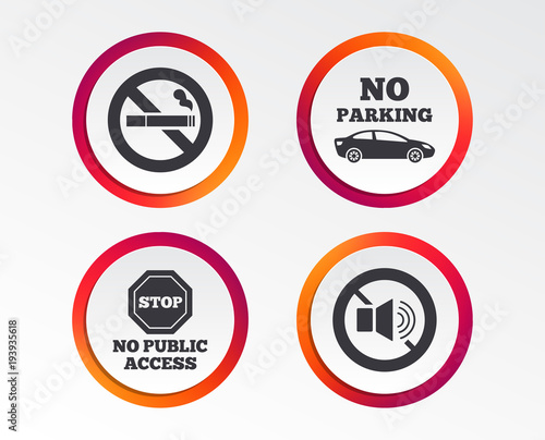 Stop Smoking And No Sound Signs Private Territory Parking Or Public
