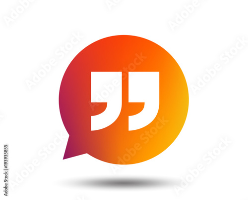 Quote Sign Icon Quotation Mark In Speech Bubble Symbol Double Fascinating Quote Symbol
