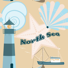 Pattern background. Seamless pattern of North Sea with shells, fisher boat and lighthouse in trendy pastel color tones. Text : North Sea