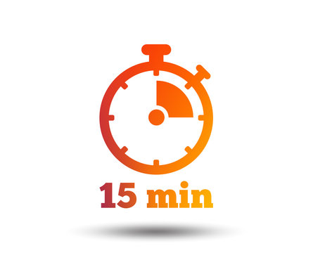Timer sign icon. 15 minutes stopwatch symbol. Blurred gradient design element. Vivid graphic flat icon. Vector