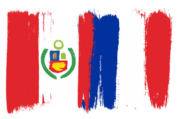 Peru Flag & France Flag Vector Hand Painted with Rounded Brush