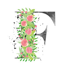 Watercolor letter F with floral decoration