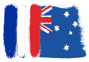 France Flag & Australia Flag Vector Hand Painted with Rounded Brush