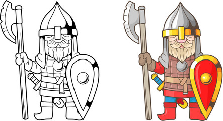 cartoon, funny, medieval russian warrior, coloring book