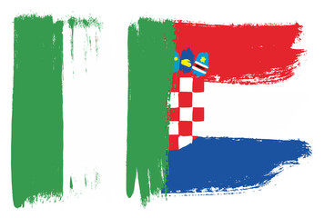 Nigeria Flag & Croatia Flag Vector Hand Painted with Rounded Brush