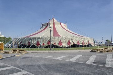 Circus tent mounted in the square