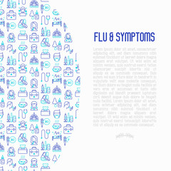Flu and symptoms concept thin line icons: temperature, chills, heat, runny nose, bed rest, doctor with stethoscope, nasal drops, cough, phlegm in the lungs. Vector illustration for medical report.