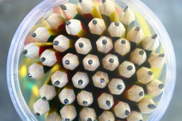 Pencils made of graphite mixed with clay  used for writing and drawing lines.