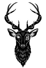 head of a fantastic deer with patterns of a hand drawing, isolated object, vector illustration