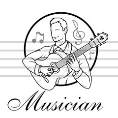 Artists musician Playing. Guitar player. Musician plays the instrument. Musician logo. Musical staff.