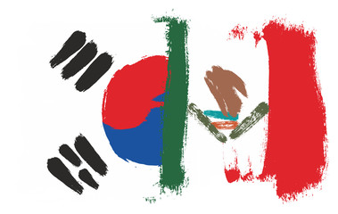 Korea Republic Flag & Mexico Flag Vector Hand Painted with Rounded Brush
