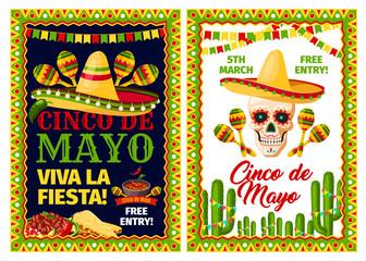 Cinco de Mayo mexican holiday card of fiesta party