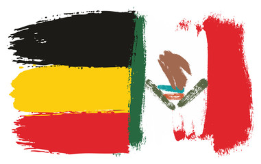 Germany Flag & Mexico Flag Vector Hand Painted with Rounded Brush
