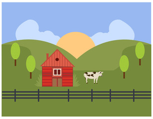rural house with cow