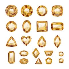 Set of realistic golden jewels.