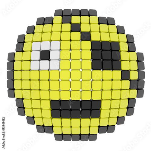 Dessin Pixel Smiley Amoureux