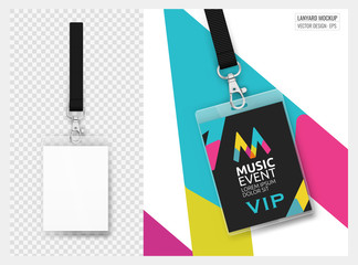 Lanyard design with transparent background. Example of colorful design for online portfolio or customer presentation. Lanyard for brand identity.