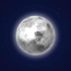 Planet moon background night sky cartoon style. Earth satellite with stars around. Celestial body. Vector illustration