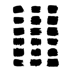Collection of hand drawn rectangular grunge background shapes. Isolated ink spots for logo. Black vector elements drawing with brush.