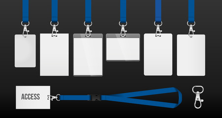 set of lanyards with labels of different formats. lanyards for access control, security or identification. Illustration of lanyards with metal closure. example in blue color.