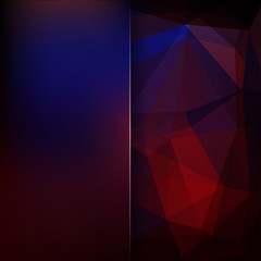 Abstract polygonal vector background. Geometric vector illustration. Creative design template. Abstract vector background for use in design. Blue, red, purple colors.