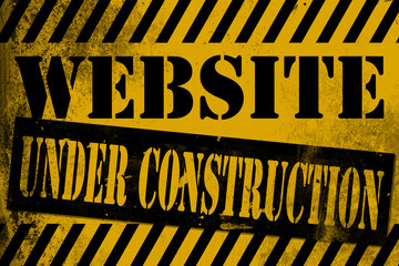 Website under construction sign yellow with stripes