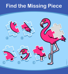 Find The Missing Piece Flamingo puzzle for kids