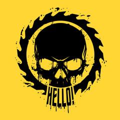 Skull in saw illustration